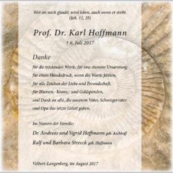 Prof. Dr. Karl Hoffmann (Danksagung)
