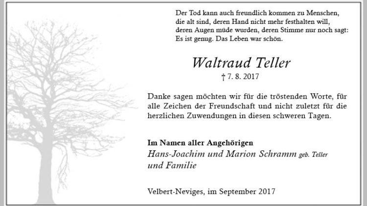 Waltraud Teller (Danksagung)