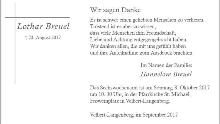 Lothar Breuel (Danksagung)
