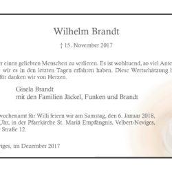 Wilhelm Brandt (Danksagung)