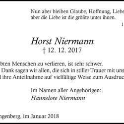Horst Niermann (Danksagung)