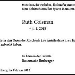 Ruth Colsman -Danksagung-