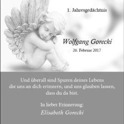 Wolfgang Gorecki -1. Jahresgedächtnis-