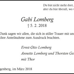 Gabi Lomberg (Danksagung)