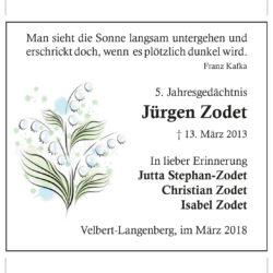 Jürgen Zodet (5. Jahresgedächtnis)