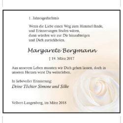 Margarete Bergmann (1. Jahresgedächtnis)