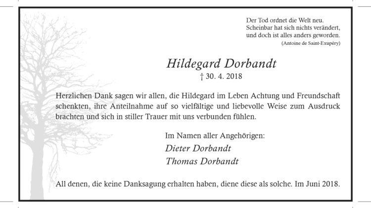 Hildegard Dorbandt -Danksagung-