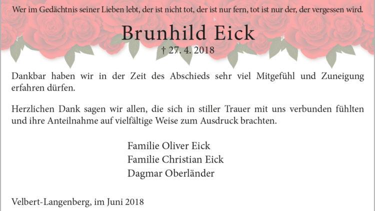 Brunhild Eick -Danksagung-