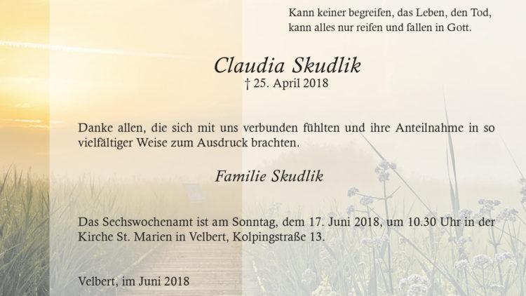 Claudia Skudlik -Danksagung-