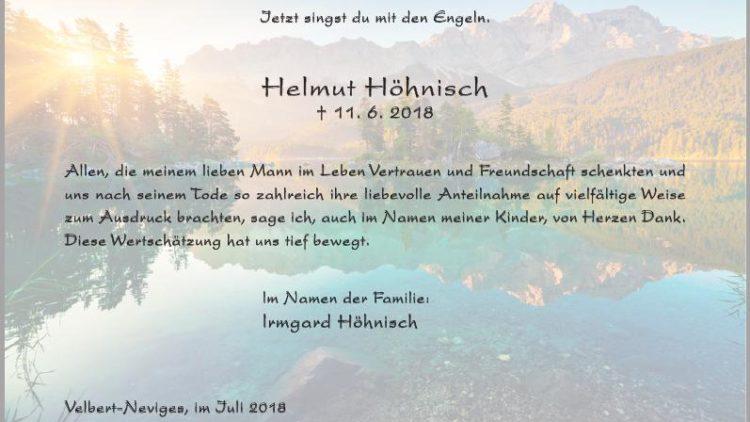 Helmut Höhnisch -Danksagung-