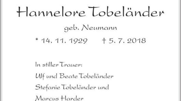 Hannelore Tobeländer