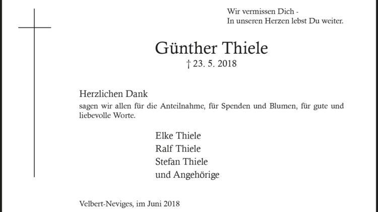 Günther Thiele -Danksagung-