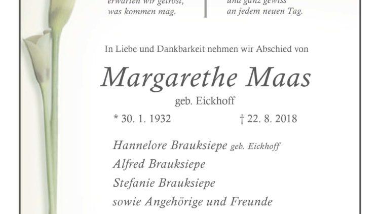 Margarethe Maas † 22. 8. 2018