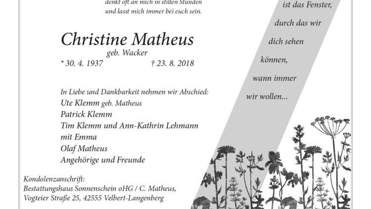 Christine Matheus †23. 8. 2018