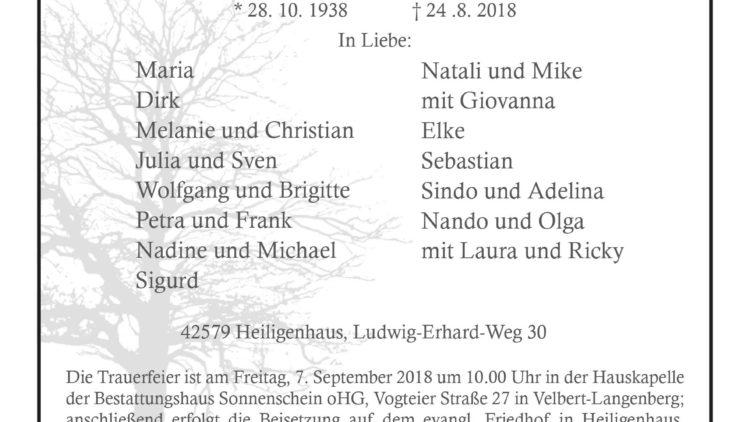 Fritz Tölke † 24. 8. 2018