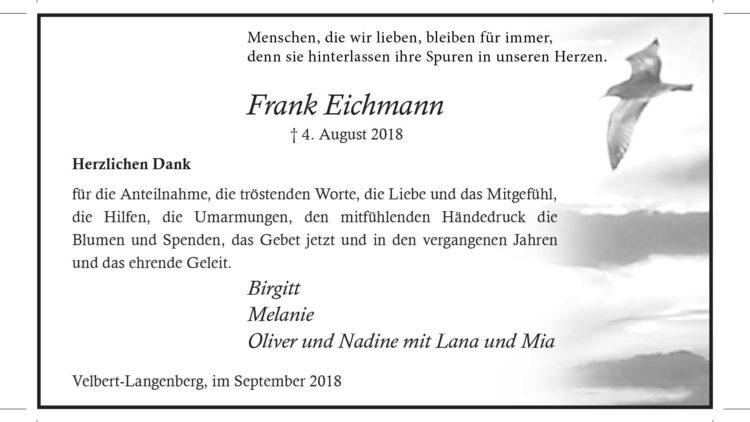"Frank Eichmann ""Danksagung"""