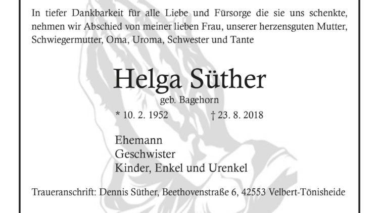 Helga Süther † 23. 8. 2018