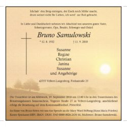 Bruno Samulowski † 11. 9. 2018