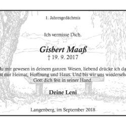 Gisbert Maaß -1. Jahresgedächtnis-