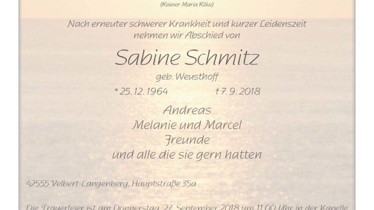 Sabine Schmitz † 7. 9. 2018