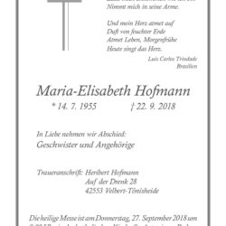 Maria-Elisabeth Hofmann † 22. 9. 2018