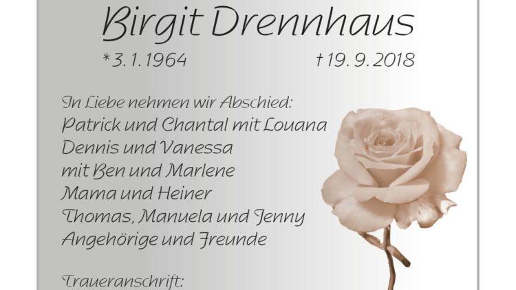 Birgit Drennhaus † 19. 9. 2018
