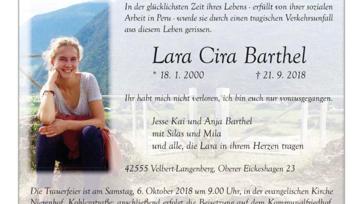 Lara Cira Barthel † 21. 9. 2018