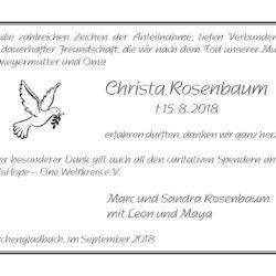 Christa Rosenbaum -Danksagung-