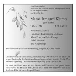 Irmgard Klump † 30. 9. 2018