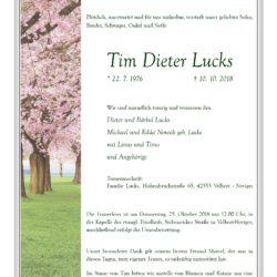 Tim Dieter Lucks † 10. 10. 2018