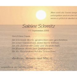 Sabine Schmitz -Danksagung-