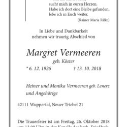 Margret Vermeeren † 13. 10. 2018