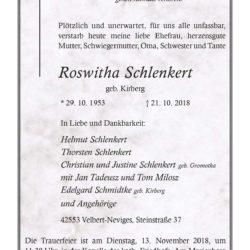 Roswitha Schlenkert † 21. 10. 2018