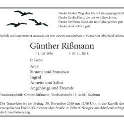 Günther Rißmann † 15. 11. 2018
