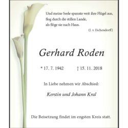 Gerhard Roden † 15. 11. 2018