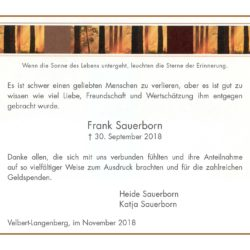 Frank Sauerborn -Danksagung-