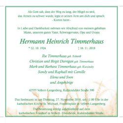 Hermann Heinrich Timmerhaus † 16. 11. 2018
