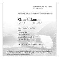 Klaus Bickmann † 2. 12. 2018
