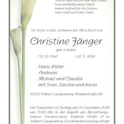 Christine Fänger † 27. 11. 2018