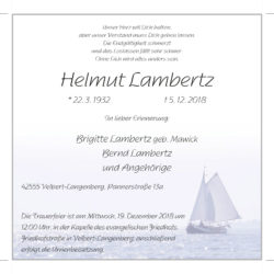 Helmut Lambertz † 5. 12. 2018