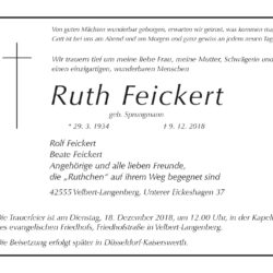 Ruth Feickert † 9. 12. 2018