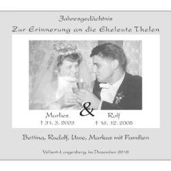 Eheleute Thelen -Jahresgedächtnis-