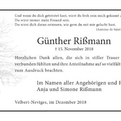 Günther Rißmann -Danksagung-