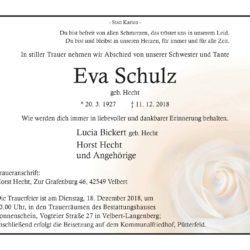 Eva Schulz † 11. 12. 2018