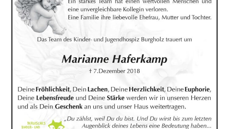 Marianne Haferkamp † 7. 12. 2018