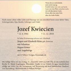 Jozef Kwiecien † 11. 12. 2018