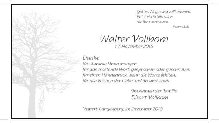 Walter Vollbom -Danksagung-