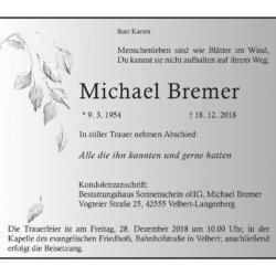 Michael Bremer † 18. 12. 2018