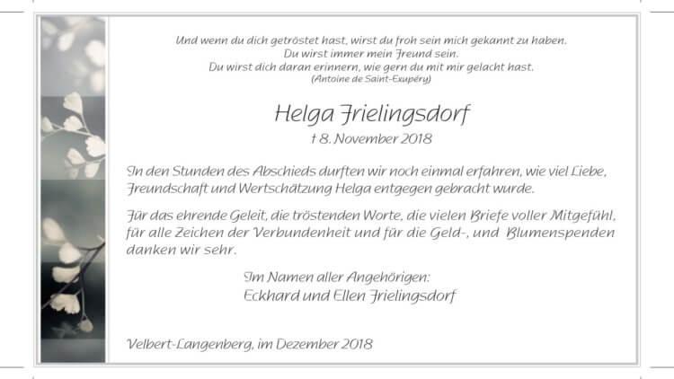 Helga Frielingsdorf -Danksagung-