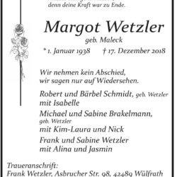 Margot Wetzler † 17. 12. 2018